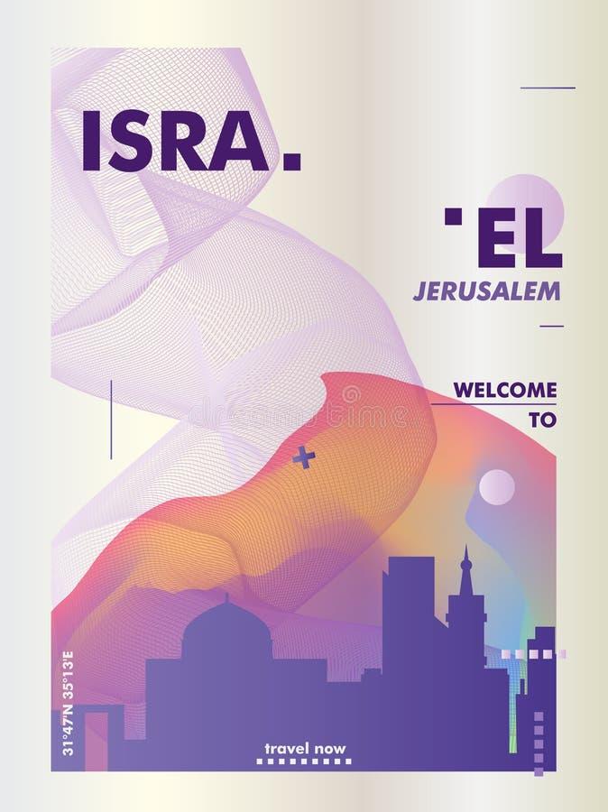 以色列耶路撒冷特拉维夫地平线城市梯度传染媒介海报 库存例证
