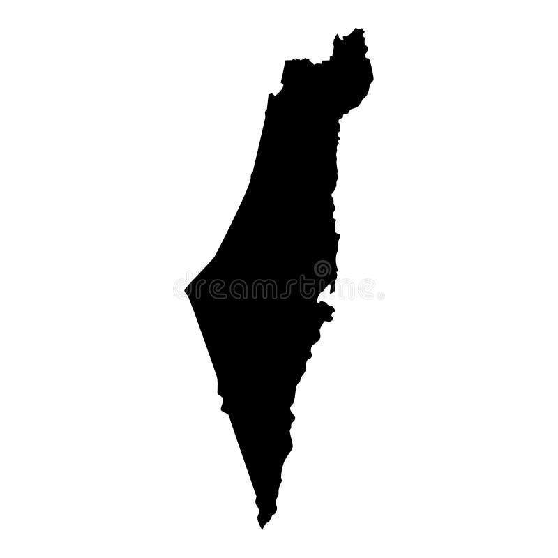以色列象黑色彩色插图平的样式简单的图象地图  向量例证