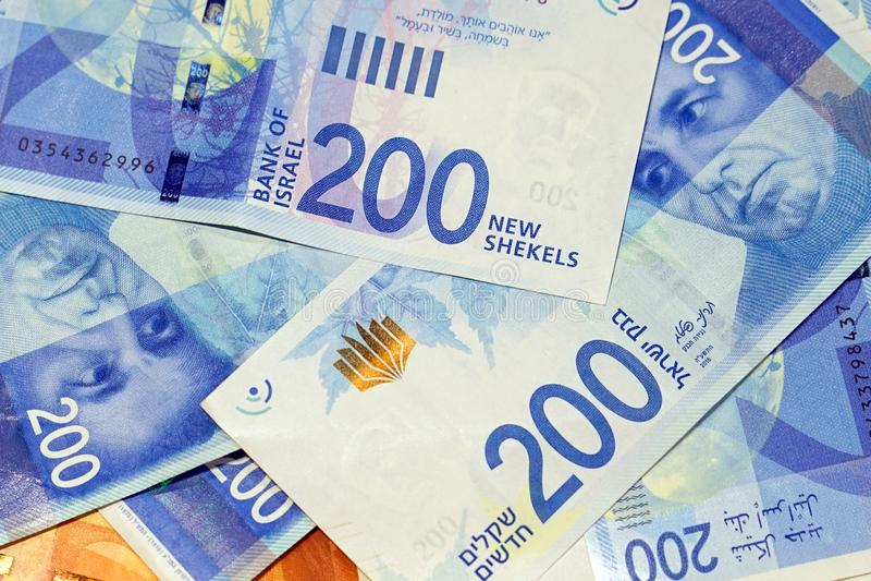 以色列金钱笔记 免版税图库摄影
