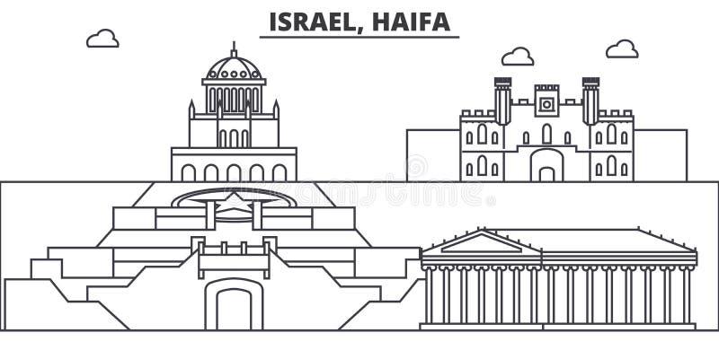 以色列,海法建筑学线地平线例证 与著名地标的线性传染媒介都市风景,城市视域,设计 库存例证
