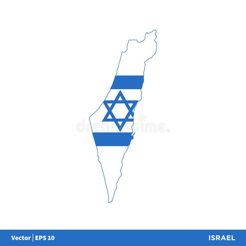 以色列-亚洲国家映射并且下垂象传染媒介商标模板例证设计 o 库存例证