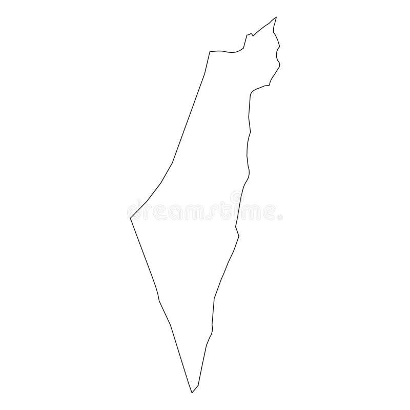 以色列-国家区域坚实黑概述边界地图  简单的平的传染媒介例证 库存例证