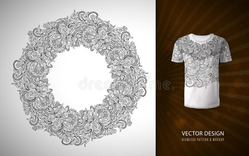 以花圈的形式乱画花纹花样,用于在T恤杉的一个样式 传染媒介手凹道圈子框架被做  库存例证