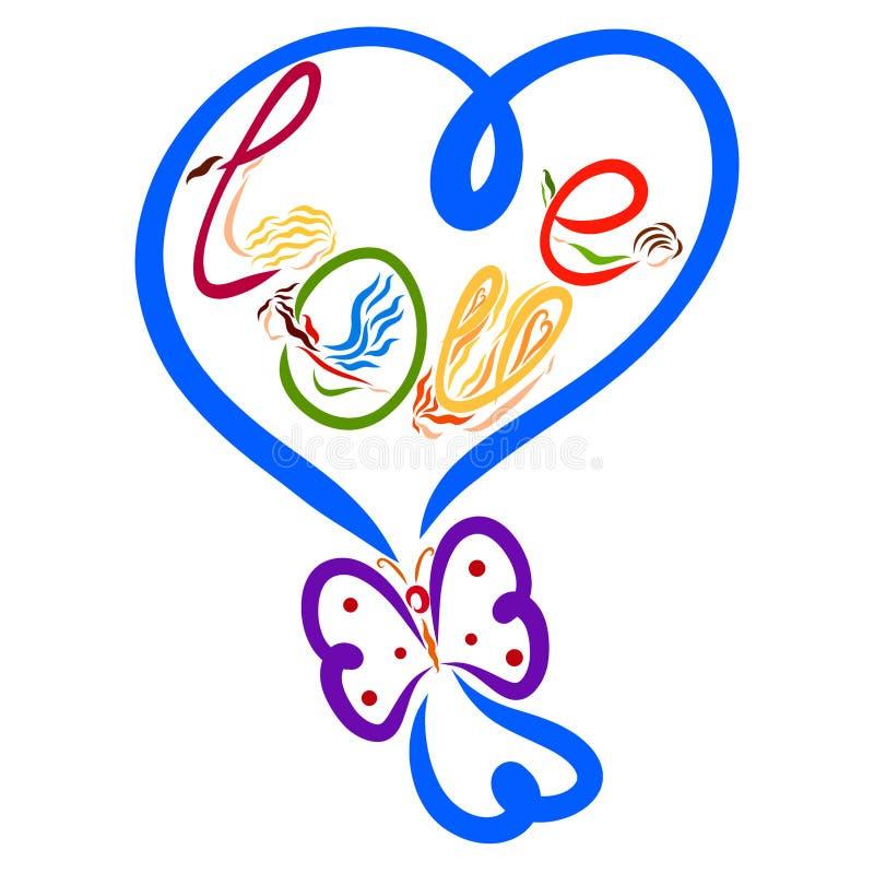 以蝴蝶和t的形式,迅速增加心形与弓 向量例证