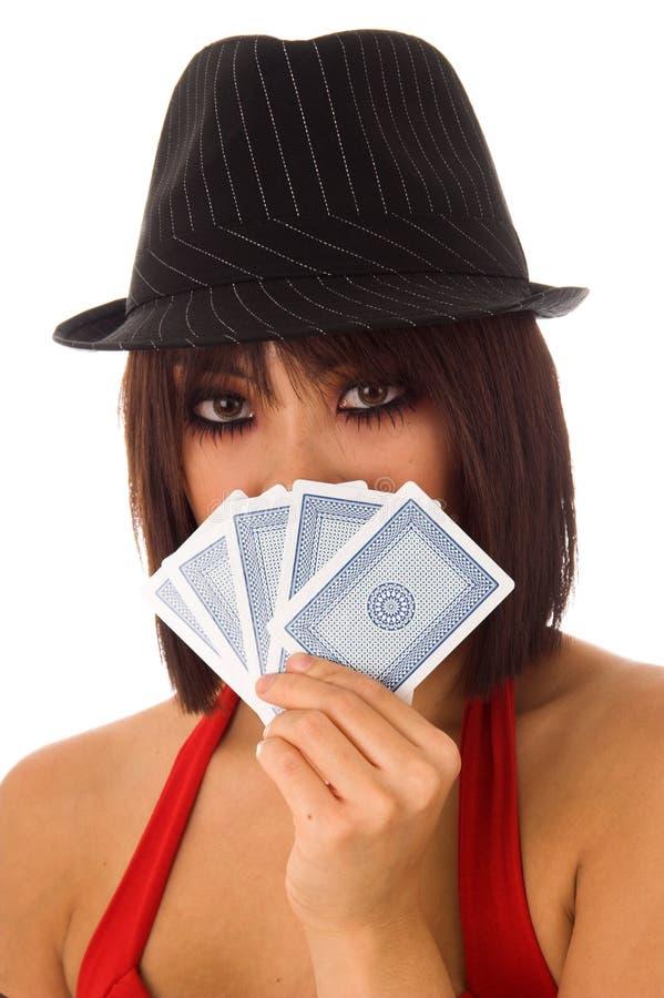 以赌纸牌行骗为生的人 免版税库存图片