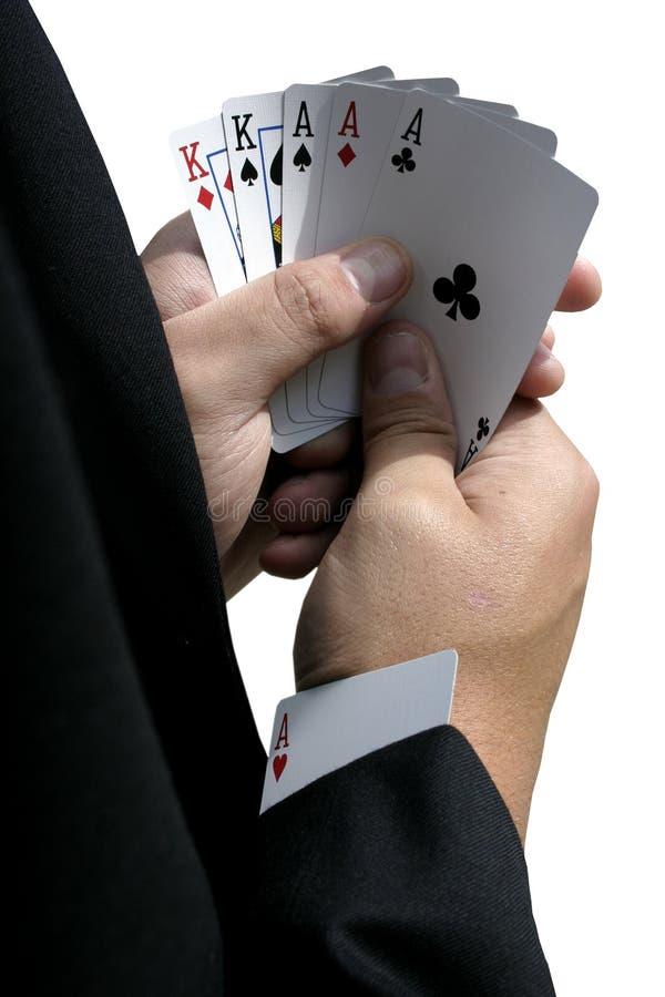 以赌纸牌行骗为生的人 库存照片