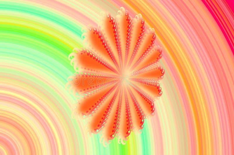 以雏菊flowe的形式,与容量的抽象3D图象在与分数维复合体的多彩多姿的背景仿造了元素 库存例证