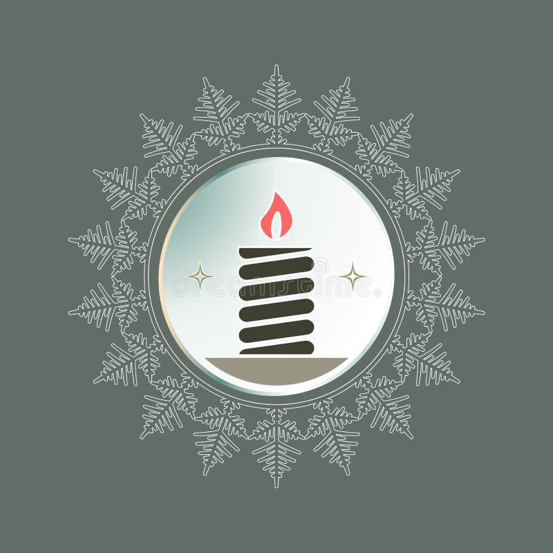以雪花的形式圆的框架与一个灼烧的蜡烛的剪影 库存例证