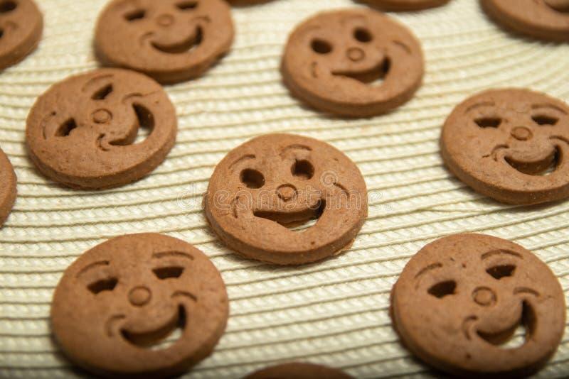 以面带笑容的形式被环绕的曲奇饼 免版税库存图片