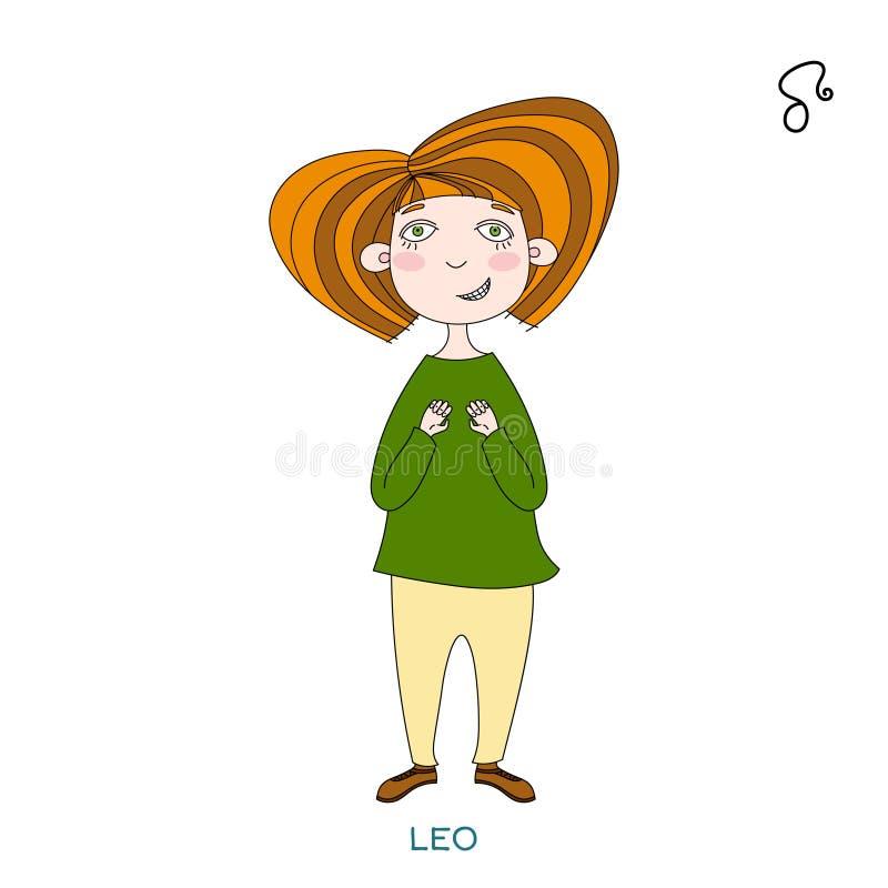 以黄道带标志的形式逗人喜爱的女孩 利奥 皇族释放例证