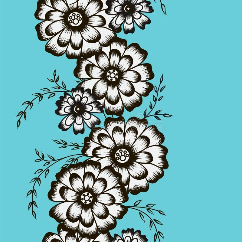 以camomiles的形式花饰在一蓝色backgr 库存例证