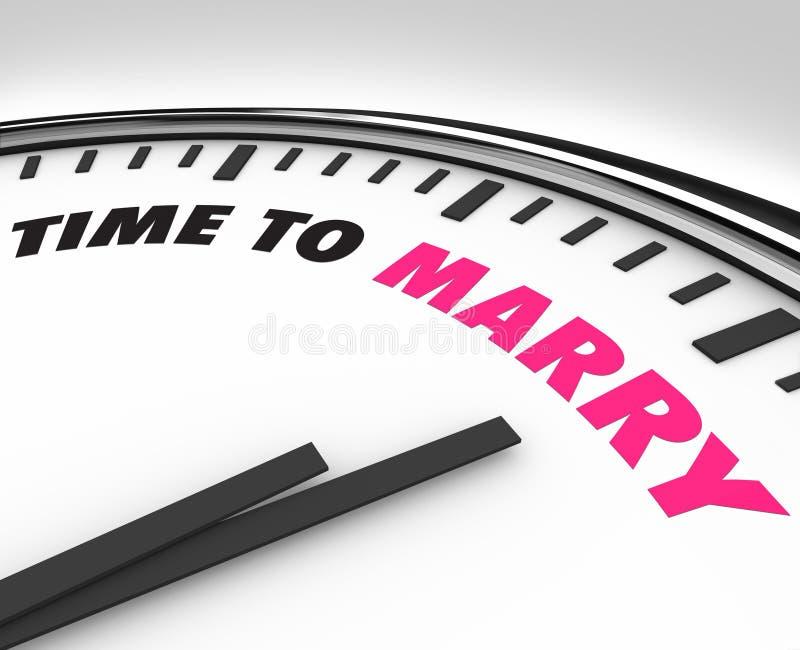 仪式时钟与时间结婚对婚礼 向量例证