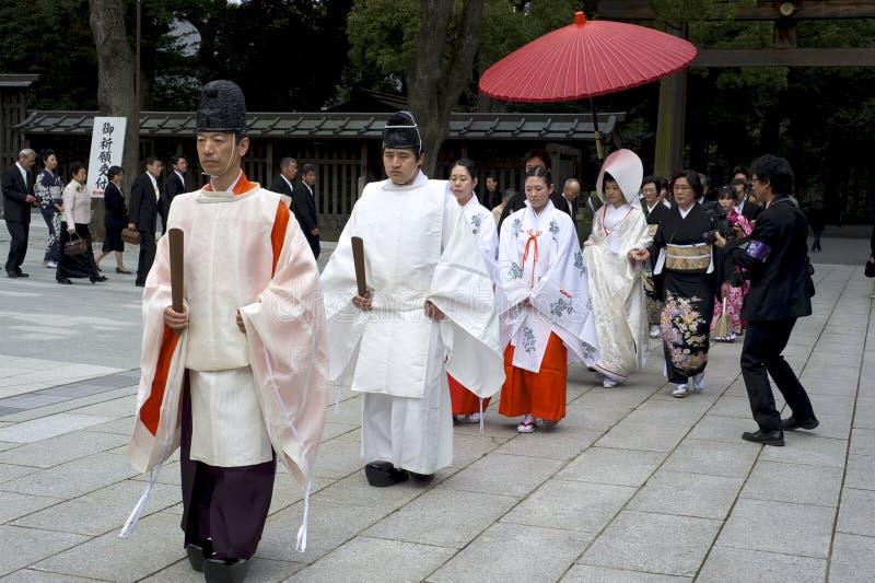 仪式meiji神道圣地东京婚礼 库存照片
