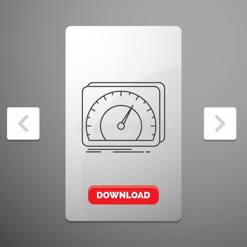 仪表板、设备、速度、测试、互联网线象在喧闹的酒宴页码滑子设计&红色下载按钮 皇族释放例证