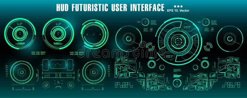 仪表板显示虚拟现实技术屏幕 HUD未来派绿色用户界面,目标 库存例证