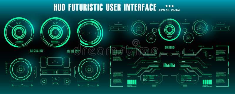 仪表板显示虚拟现实技术屏幕 HUD未来派绿色用户界面,目标 向量例证