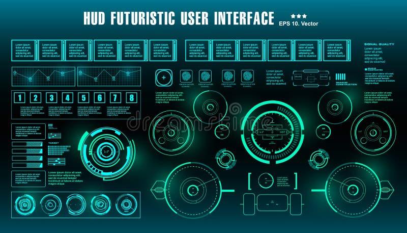仪表板显示虚拟现实技术屏幕 HUD未来派绿色用户界面,目标 皇族释放例证