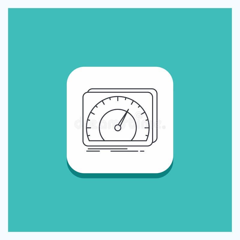 仪表板的,设备,速度,测试,互联网线象绿松石背景圆的按钮 库存例证