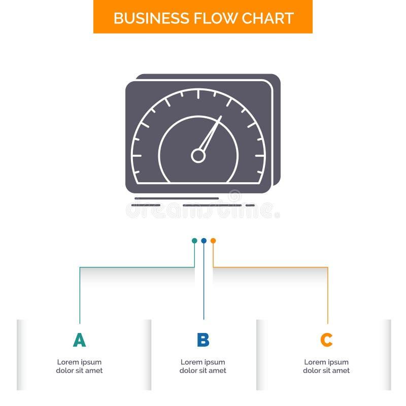 仪表板,设备,速度,测试,互联网企业与3步的流程图设计 r 向量例证