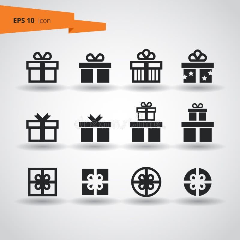 12件礼物传染媒介象集合 在空白背景的剪影 EPS10 向量例证