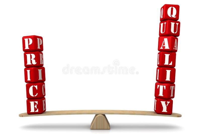 价格对应于质量 在等级的比较 库存例证