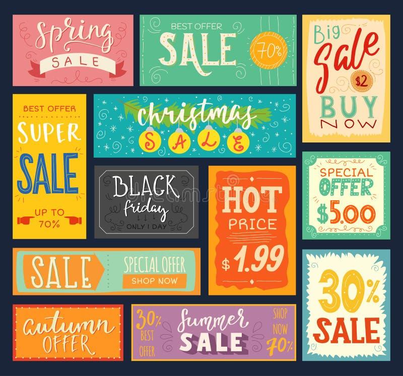 价牌销售贴纸折扣促进标志徽章广告横幅提议优惠券传染媒介例证 向量例证
