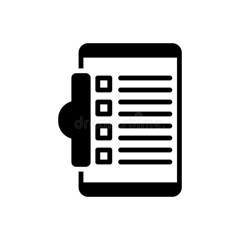 任务、剪贴板和编辑的黑坚实象 向量例证