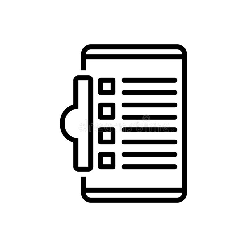 任务、剪贴板和编辑的黑线象 皇族释放例证