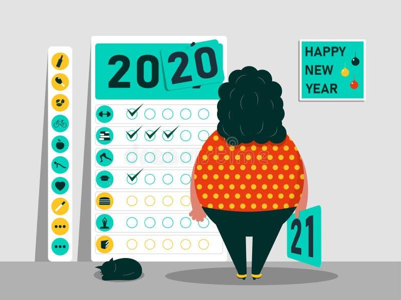 任务和计划在2019年- 2020年 习性日历  滑稽的肥胖字符 E 皇族释放例证