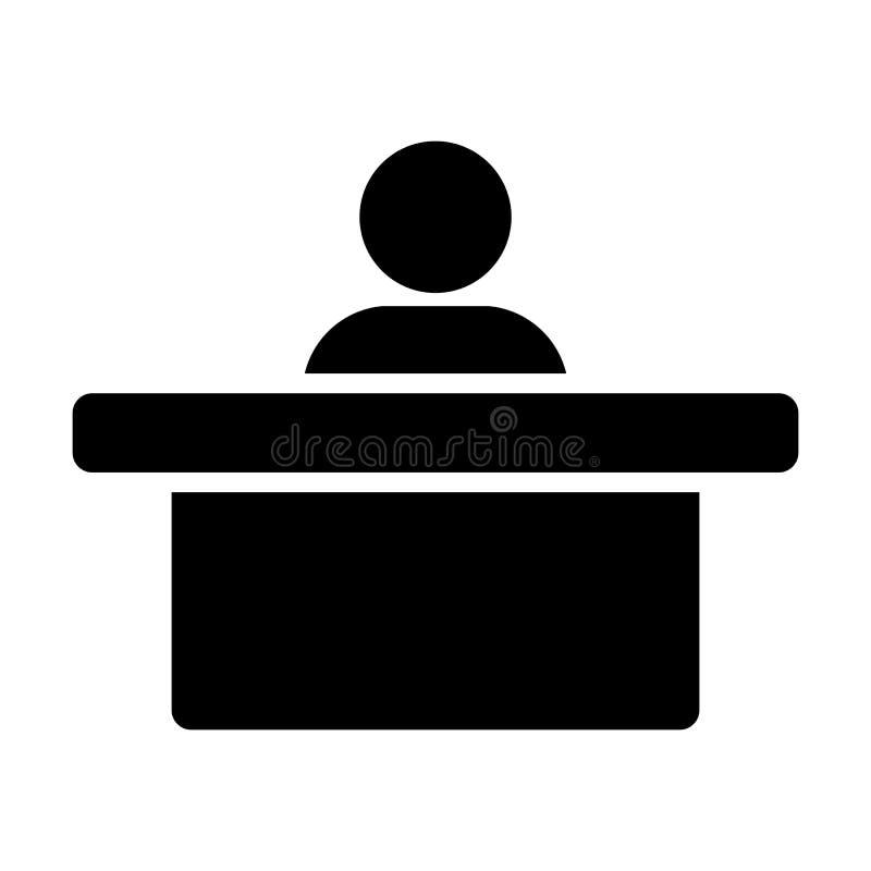 任命象传染媒介男性收养与桌的具体化标志平的颜色纵的沟纹图表的办公室的 库存例证