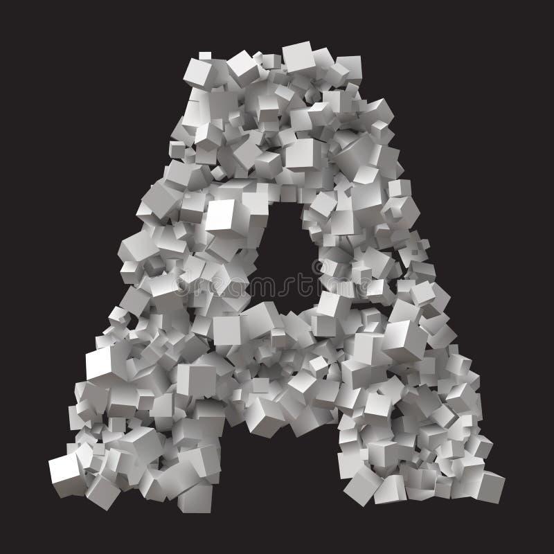 任意大小的立方体形成的大信件 向量例证