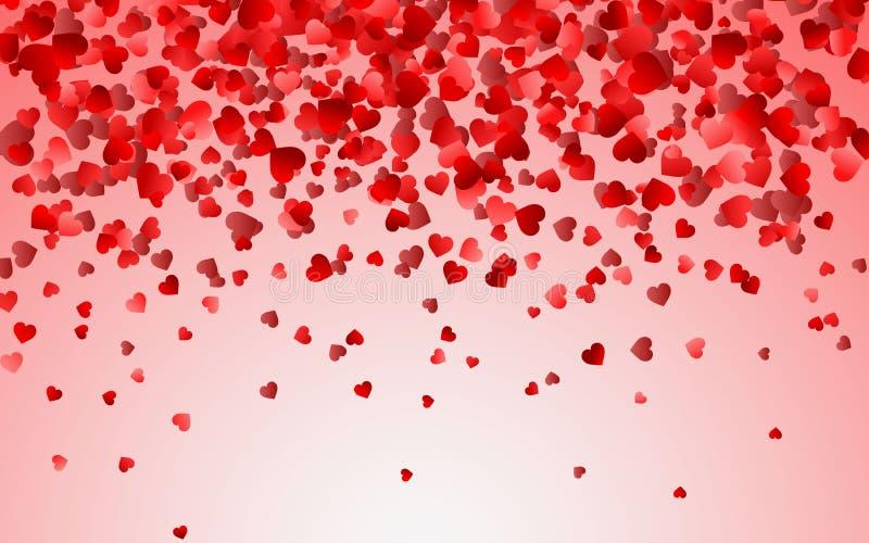 任意落的心脏五彩纸屑的红色样式 边界欢乐横幅的,贺卡,明信片,婚礼设计元素 皇族释放例证