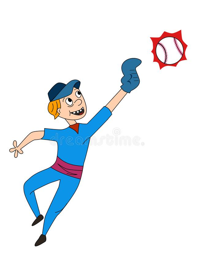 仿照一部动画片样式的例证在体育和棒球题材  向量例证