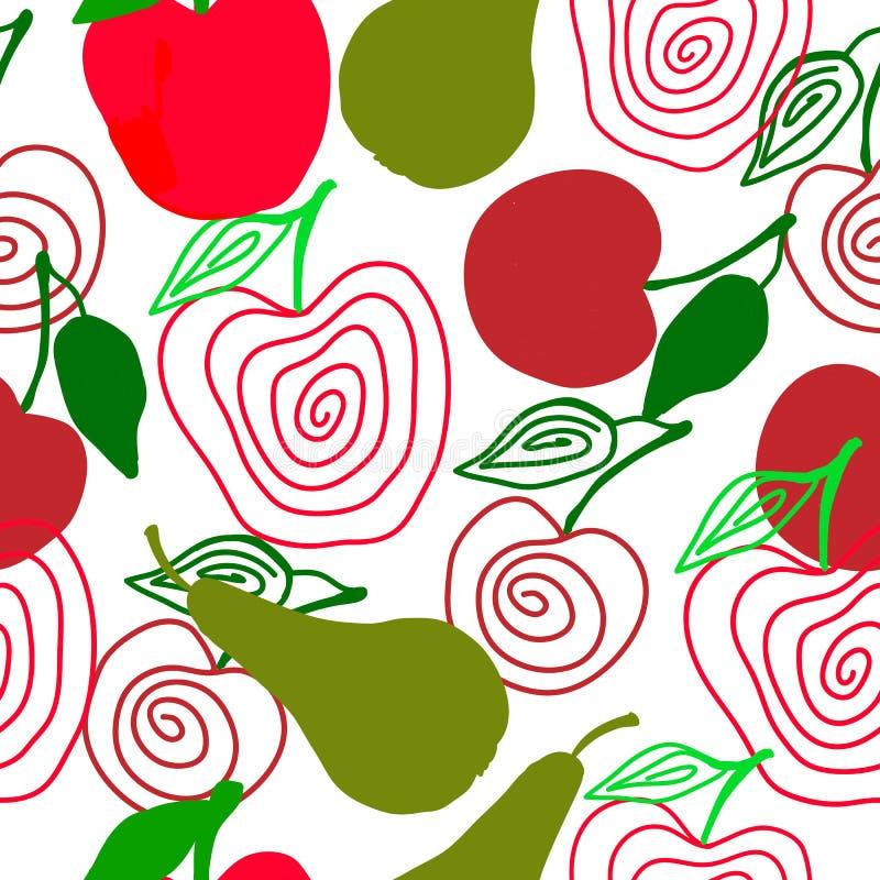 仿照乱画样式的无缝的风格化果子样式 皇族释放例证