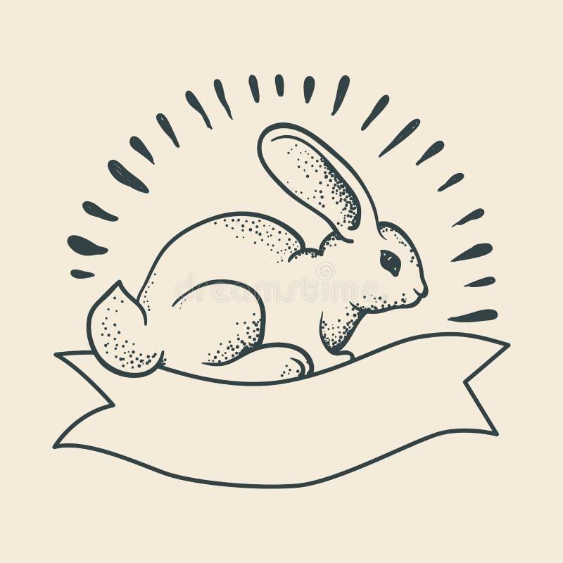 仿照传统纹身花刺样式的一张兔子图画 守旧派 皇族释放例证