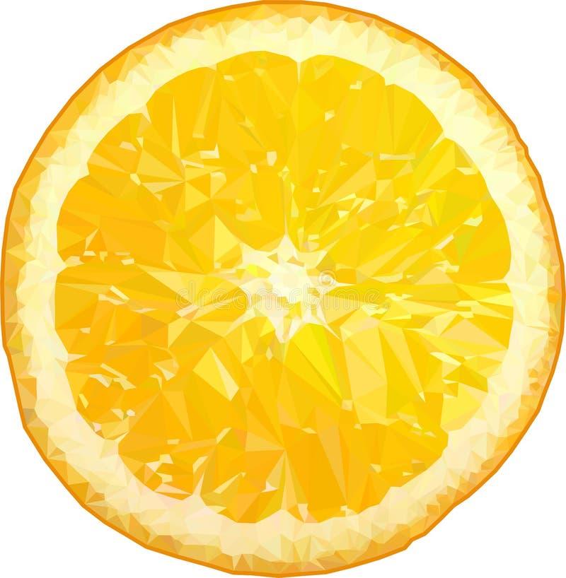 仿照低多图表样式的橙色果子 在白色背景隔绝的多角形桔子 库存例证
