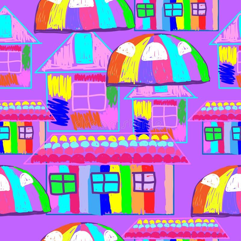仿照儿童的画的明亮的房子样式的无缝的样式 库存例证
