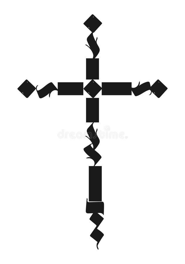 仿照哥特式书法样式的传染媒介十字架 皇族释放例证