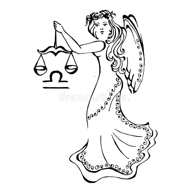 仿照图画样式的例证与黄道十二宫 皇族释放例证