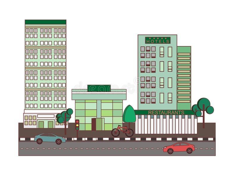 仿照平的设计样式的例证在城市的题材 皇族释放例证