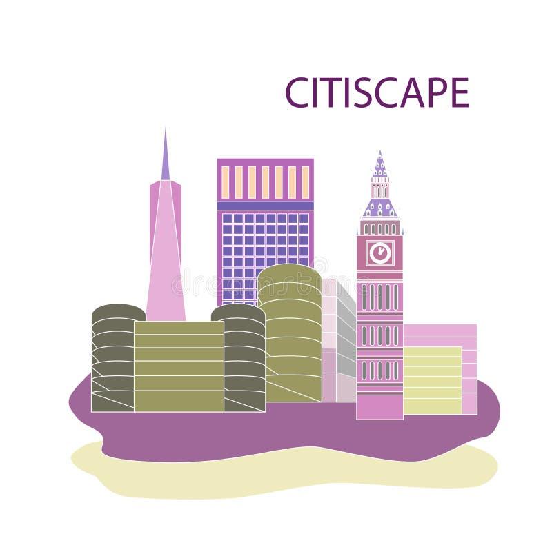 仿照平的设计样式的例证在城市的题材 向量例证
