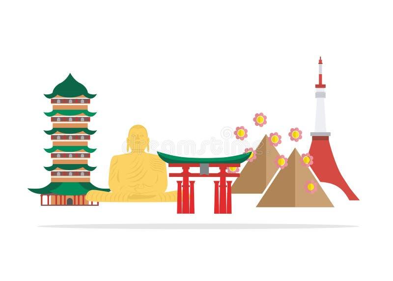 仿照平的设计样式的例证在日本的题材 库存例证