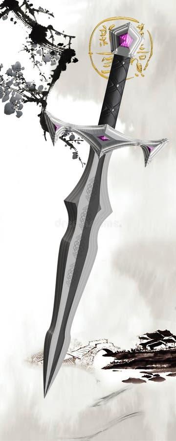 仿照幻想样式的剑 免版税库存图片
