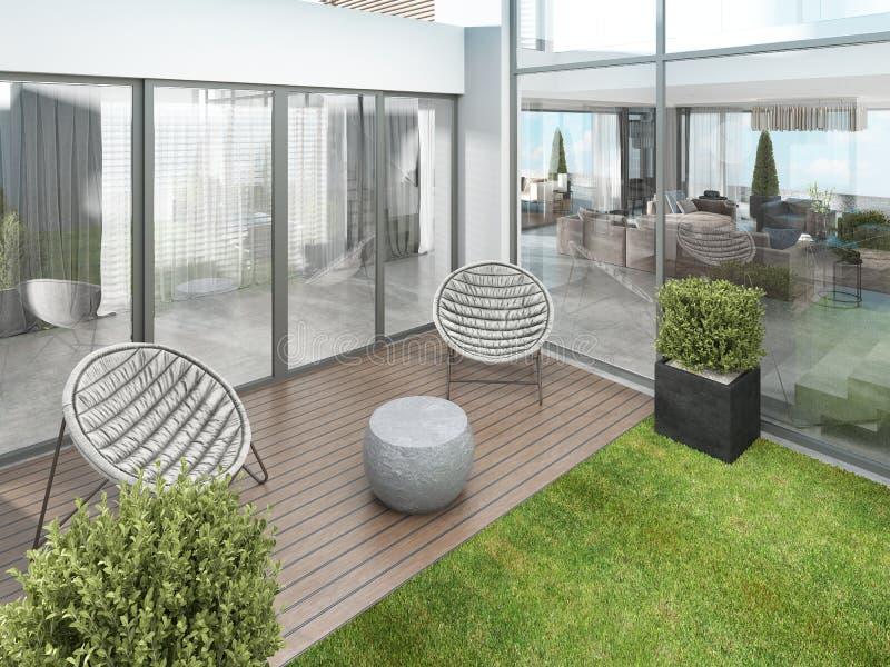 仿照当代样式的后院房子与两把现代椅子 库存例证