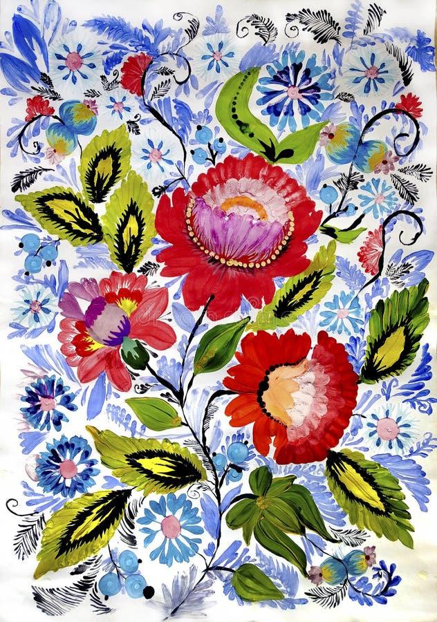 仿照彼得里科夫绘画样式的色的花 免版税库存图片