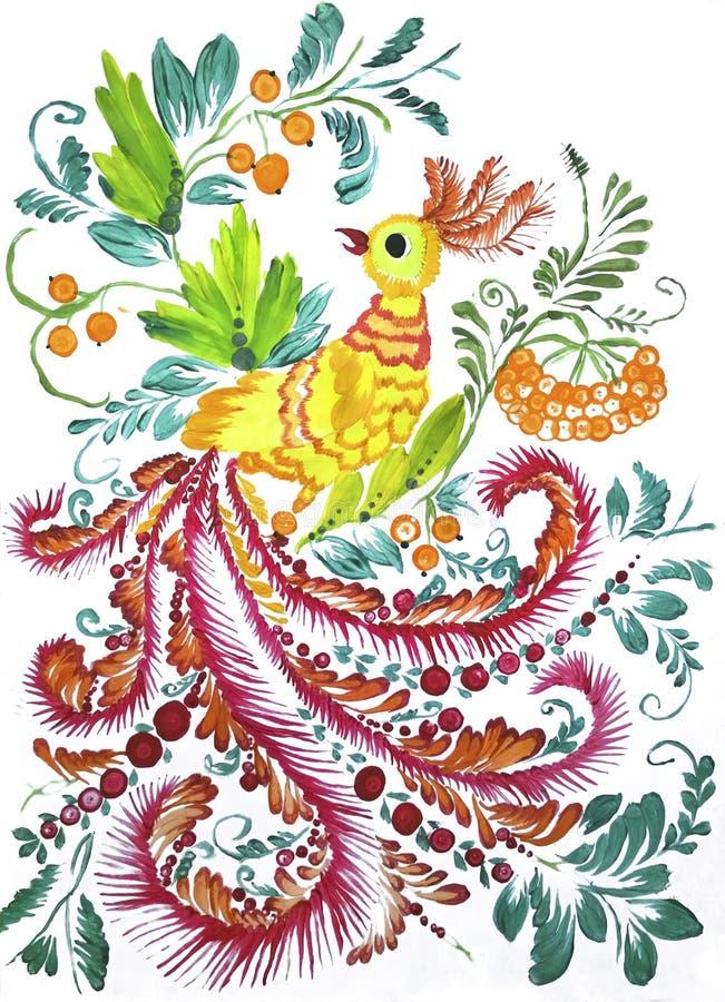 仿照彼得里科夫绘画样式的Firebird 库存图片