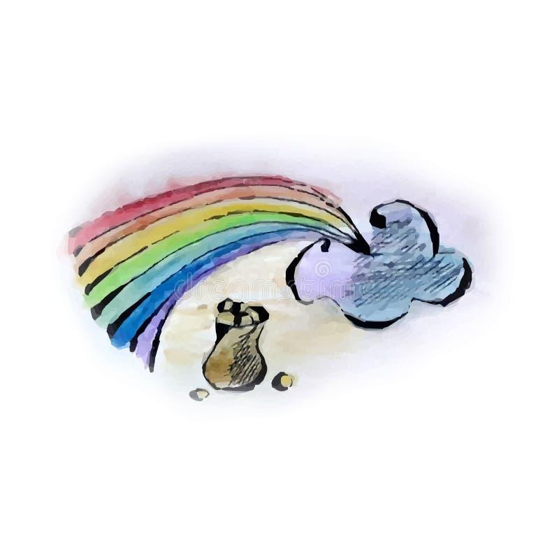 仿照水彩样式的例证在彩虹题材  库存例证