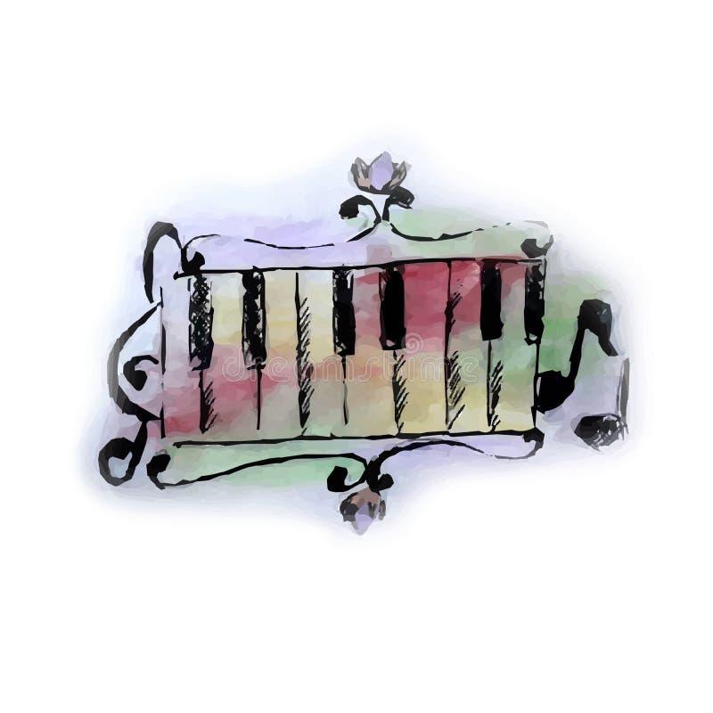 仿照水彩样式的例证在音乐题材  皇族释放例证