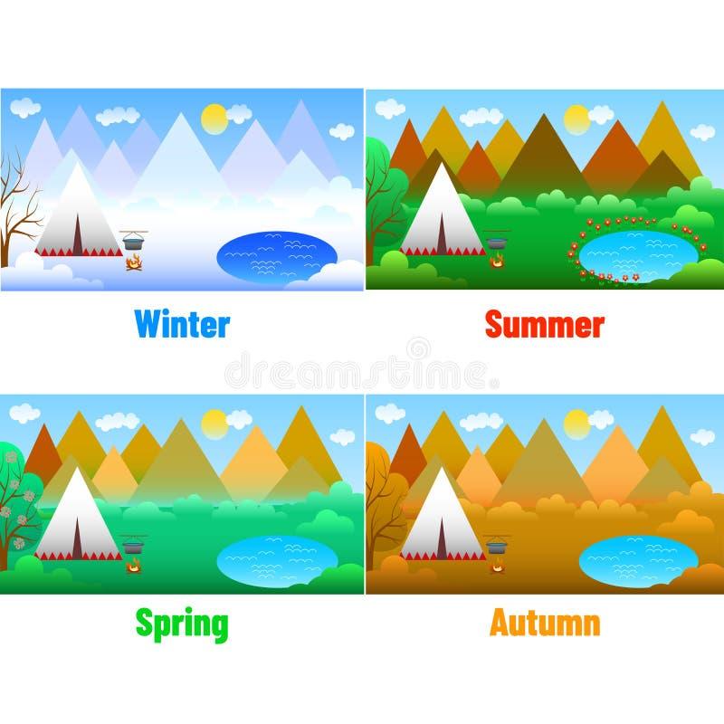 仿照物质设计样式的例证-一套风景和不同的季节 库存例证