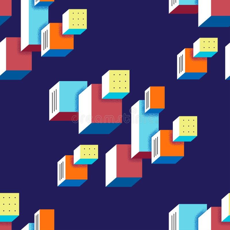 仿照鲍豪斯建筑学派样式的无缝的时髦样式 向量例证